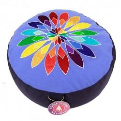 "Meditatiekussen Blauw ""Flower Power"""