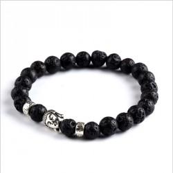 "Lavasteen Boeddha armband ""Aarde & Vuur"" (zilverkleur)"
