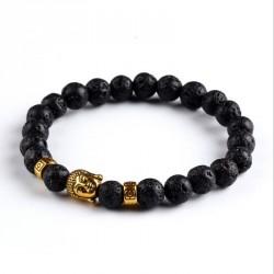 "Lavasteen Boeddha armband ""Aarde & Vuur"" (goudkleur)"