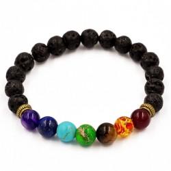 """Lavasteen Chakra armband """"AARDE, VUUR & SPIRIT"""""""