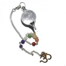 Pendel bergkristal met chakraketting