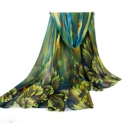 "Shawl ""JUNGLE"" (blauw)"