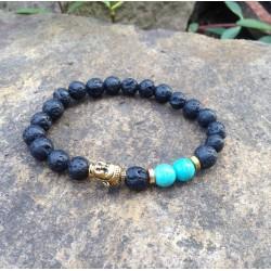 "Lavasteen Boeddha armband ""AARDE, VUUR & LIEFDE"""