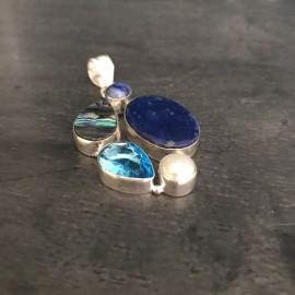 """Zilveren lapis lazuli hanger """"DOELBEWUST"""""""