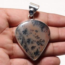 Zilveren dendriet opaal hanger