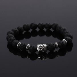 "Lavasteen Boeddha armband ""AARDE & VUUR"" (zilverkleurig)"