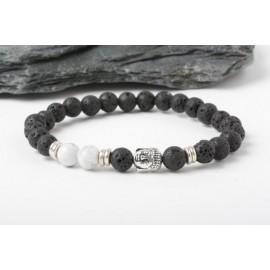 Lavasteen Boeddha armband