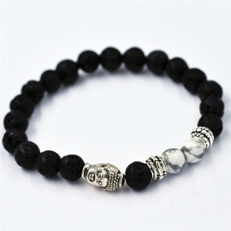 "Lavasteen Boeddha armband ""PEACE OUT"""