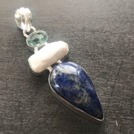 """Zilveren lapis lazuli hanger """"WILSKRACHT"""""""