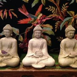 Boeddha met rozenkwarts, bergkristal of amethist