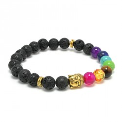 """Lavasteen Boeddha armband """"AARDE, VUUR & SPIRIT"""""""