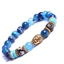 Buddha Eyes Armband Blauwe Agaat