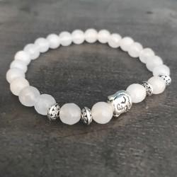 """Boeddha armband witte jade """"VERTROUWEN & LOSLATEN"""""""