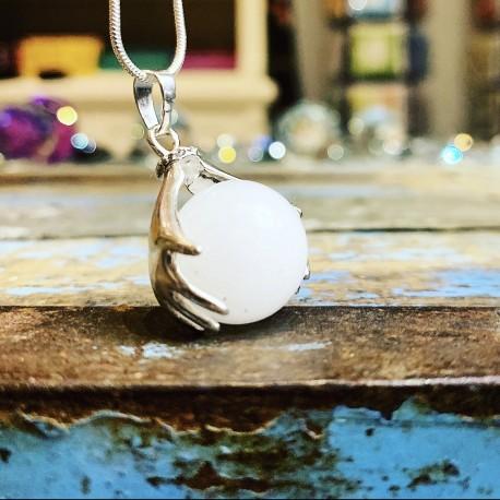 """Zilveren Healing Hands hanger Witte Jade """"Vertrouwen & Loslaten"""""""