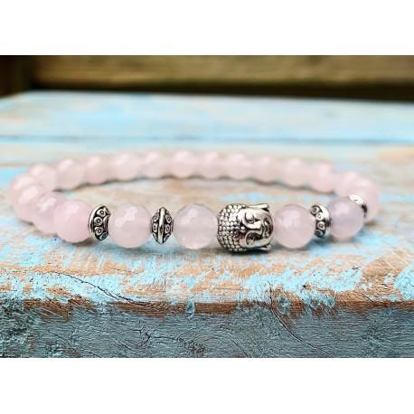 """Boeddha armband rozenkwarts """"LIEFDE"""""""