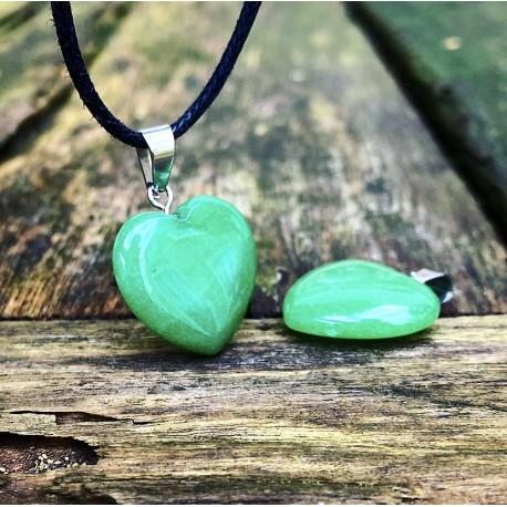 """Groene jade hart hanger """"HART VAN GELUK"""""""