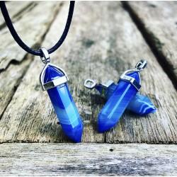 Blauwe agaat hanger